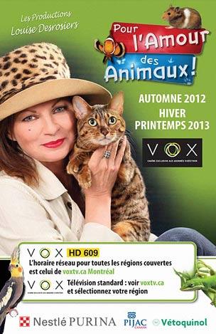 Pour l'amour des animaux, une émission présentée sur les ondes de VOX
